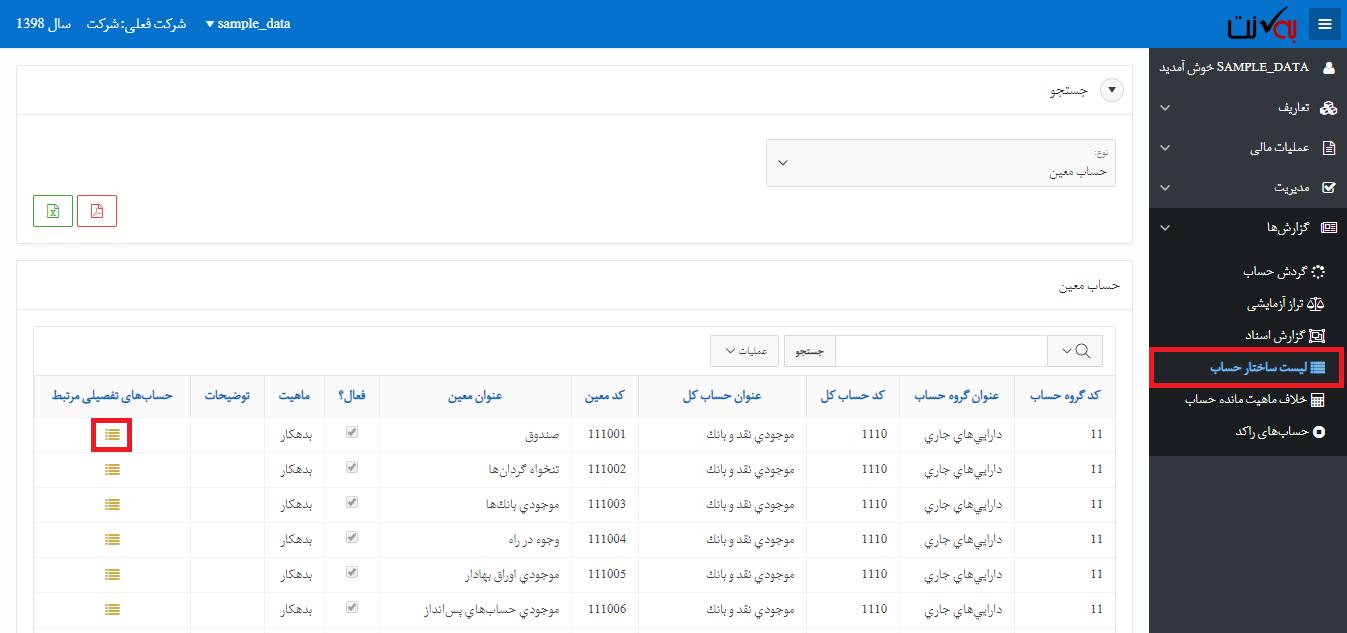 لیست ساختار حساب